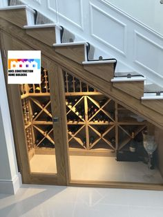 Under stairs wine storage, make the best use of your under stairs storage! And it is very posh! Get in touch with us about your renovation or refurbishment project in London! #stairs #wine #winerack #understairstorage #renovation #refurbishment #hallway #posh #musthave #london #adclconstruction #northlondon #marylebone