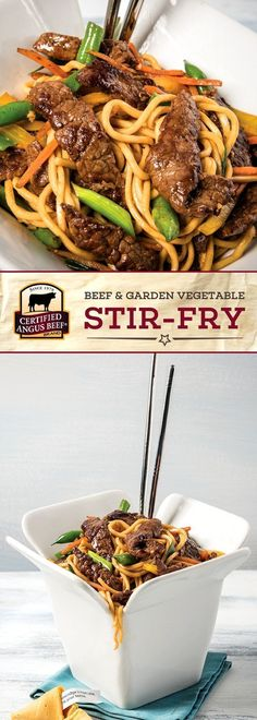 Certified Angus Beef®️️️️️️️️️ brand Beef & Garden Vegetable Stir Fry is deliciously EASY to make! The best bottom round STEAK marinated with a tasty mix including plum sauce and ginger is cooked with fresh vegetables and chow mein noodles or rice for an Beef Bottom Round Steak, Bottom Round Steak Recipes, Recipe For Beef Round Steak, Best Beef Recipes, Asian Recipes, Cooking Recipes, Sir Fry Recipes, Steak Stirfry Recipes, Beef Chow Mein