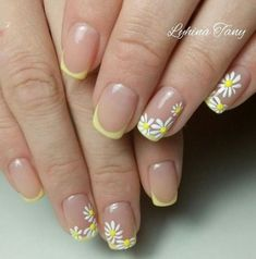 For those who like delicate nail design, Stiletto Nails are becoming a trend! More and more women choose this Stiletto Nail Designs! As far as nail art is concerned, stiletto style nails is a good reflection. Daisy Nails, Flower Nails, Daisy Nail Art, French Nail Designs, Cool Nail Designs, French Manicure With A Twist, French Manicure Acrylic Nails, French Manicures, Yellow Nail Art