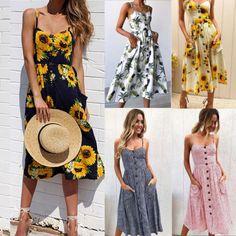$11.89 - Women's Summer Boho Casual Long Maxi Evening Party Cocktail Beach Dress Sundress