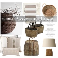 Summer Basket and Linen by pattykake on Polyvore featuring interior, interiors, interior design, home, home decor, interior decorating,…