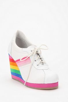 Jeffrey Campbell Rainbow Wedge Sneaker - i need these. Sexy High Heels, Lace Up Heels, Sock Shoes, Cute Shoes, Me Too Shoes, Sneaker Heels, Wedge Sneakers, Charlotte Olympia, Runners Toe