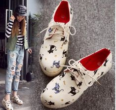 2018 Women's Girls Black Cat Round Toe Denim Wedges Casual Creeper Shoes Oxfords