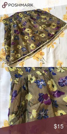"""Floral mini puff skirt 26"""" waist, 13"""" length from waist band. Has side pockets and white lace detail. Charlotte Russe Skirts Mini"""