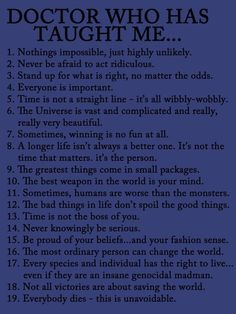 Things I learned from Doctor Who