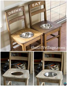 DIY Dog Feeder Station From Old Chairs -- Ways to Repurpose Old Chairs DIY Ideas #Furniture, #Pet