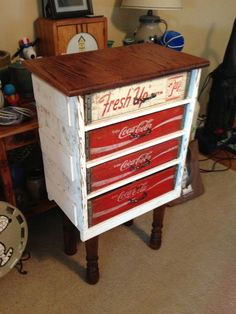 Coke crate cabinet! Everything used is something repurposed!!!