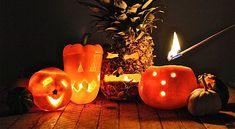 Fruit Jack-O'-Lanterns #Halloween
