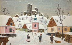 Josef Lada - Winter in Hrusice, 1944, gouache on cardboard, 36,5 x 58,5cm