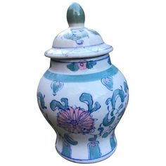 Vintage Chinoiserie Ginger Jar in Mint Green, Blue and Pink Lotus... ($39) ❤ liked on Polyvore featuring home, home decor, decorative jars, ginger jars, lotus home decor, mint green home decor, colored jars, blue jar and mint green home accessories