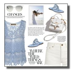"""""""Blue Crochet Top"""" by daiscat ❤ liked on Polyvore featuring River Island, Yves Saint Laurent, Tory Burch and Ray-Ban"""