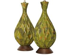 PAIR Mid-Century Modern Pottery Lamps . XL SIZE 35 inches high. $289.00, via Etsy.
