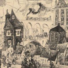 Lyonel Feininger On the Town Wall, 1911 Tusche, Feder, Einfassungslinie Albertina, Wien