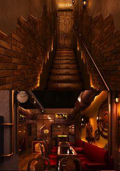 Beautiful steampunk room in India restaurant.  EPBOT: Saturday Steam 4/27/13