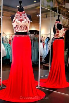 Red Prom Dresses, Two Pieces Formal Dresses, Open Back Chiffon Party Gowns, Beading High Neck Evening Dresses, Sexy Graduation Dress