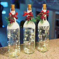 Wine Bottle Art, Painted Wine Bottles, Lighted Wine Bottles, Wine Bottle Crafts, Wine Bottle With Lights, Decorative Wine Bottles, Glass Bottle, Bottle Centerpieces, Wine Bottle Decorations