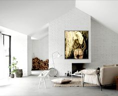 My painting 'Pink Jeans' is amazing in this beautiful living room For sale