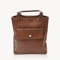 """E-GO Collection by Jill-e Designs Rich brown croc leather tote with padded protection for 15"""" laptop and tablet"""