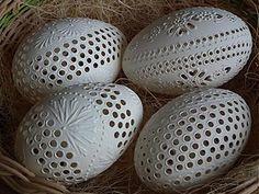 Egg Crafts, Easter Crafts, Arts And Crafts, Egg Shell Art, Carved Eggs, Egg Art, Egg Decorating, Egg Shells, Xmas Decorations