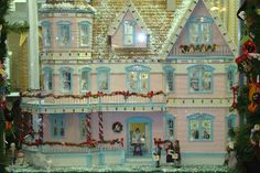 "Pink and Blue Christmas  1/12"" Scale Miniature Dollhouse Christmas Mansion"