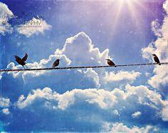 Nursery Art Pastel Purple Blue Sky Birds by HConwayPhotography, $48.00