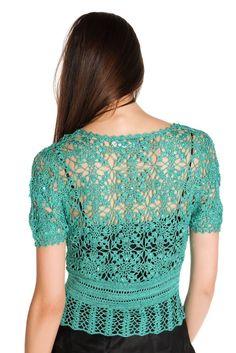 Crochetemoda: Casaqueto Verde de Crochet