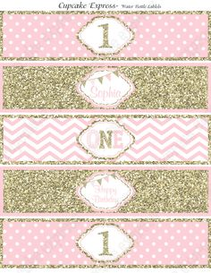 One First Birthday girl coral pink gold PRINTABLE Water Bottle Labels Personalized chevron polka dot glitter 1st birthday - 1030 by CupcakeExpress on Etsy https://www.etsy.com/listing/242949531/one-first-birthday-girl-coral-pink-gold