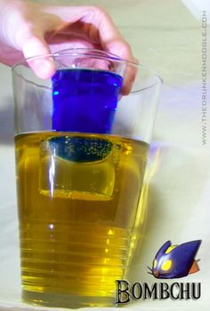 The Bombchu, a Legend of Zelda-inspired drink.  Made with Red Bull, Blue Curacao, and Blueberry Vodka.