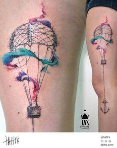 """Rodrigo Tas Tattoo   São Paulo Brazil - """"Com a cabeça nas nuvens…""""  tattrx.com/artists/rodrigo-tas   tumblr: tastattoo"""