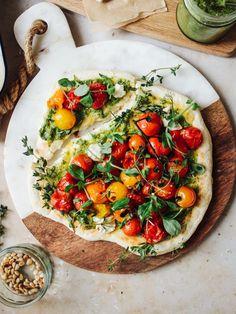 Vegan Roast Cherry Tomato & Pesto Flatbread Pizza - Rebel Recipes