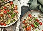 Quinoa and lentil salad with asparagus, mint and haloumi