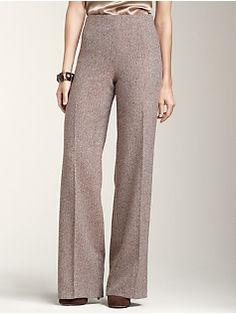 wide leg brown tweed pants. <3 | perfect brown color | wish that these were leggings