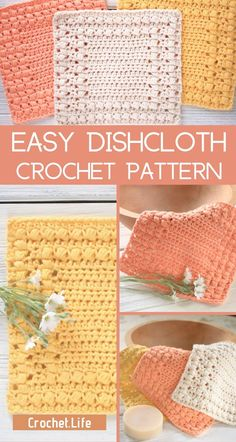 If you're looking for a fun beginner crochet pattern, this free crochet dishcloth pattern is perfect for learning how to make a fun, quick project! Diy Crochet Dishcloth, Crochet Towel, Crochet Diy, Manta Crochet, Crochet Dishcloths Free Patterns, Quick Crochet Gifts, Crochet Afghans, Crochet Blankets, Beginner Crochet Projects