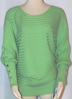 NEW Womens Ladies Plus ALFANI Green Cotton Blend Dolman Sleeve Sweater Top 1X #Alfani #ScoopNeckDolmanSleeve