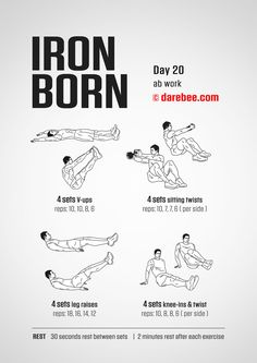Ironborn - 30 day muscle definition dumbbell program by darebee. Darbee Workout, Workout Days, Dumbbell Workout, Workout Challenge, Gym Workouts, At Home Workouts, Iron Man Workout, Kettlebell, Training