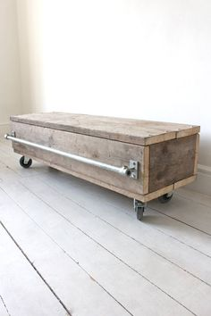 Reclaimed scaffolding board long low coffee table or media post with drawer on castors – Bespoke city furniture by www. Urban Furniture, City Furniture, Bespoke Furniture, Recycled Furniture, Industrial Furniture, Wood Furniture, Furniture Design, Industrial Storage, Furniture Outlet