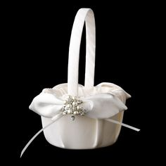 Pearl Flower Girl Basket 17 with Antique Silver Marquise Crystal & Pearl Brooch 118