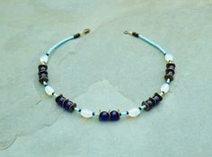 Beautiful handcrafted necklace made from cobalt blue glass and lustrous opalite beads by BijoubeadsLondon £20.00