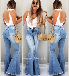 Can I getta booty like that! Flare Jeans Outfit, Jeans Outfit Summer, Spring Outfits, Casual Chic, Casual Wear, Casual Outfits, Cute Outfits, Boho Fashion, Girl Fashion