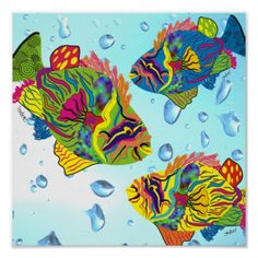Fish Art design | Tropical Fish Art Poster, Whimsical Fish zazzle.com