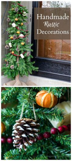 Learn a few ways to make handmade rustic decorations for your Christmas tree. All are easy to make and create a nice homey feel for the holidays. All Things Christmas, Christmas Holidays, Christmas Decorations, Christmas Ornaments, Christmas Ideas, Happy Holidays, Holiday Ideas, Merry Christmas, Rustic Decor