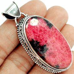 Rhodonite 925 Sterling Silver Pendant Jewelry RDNP383 - JJDesignerJewelry