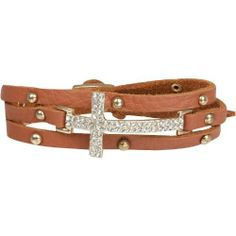 Saddle Brown Leather Triple Wrap Bracelet with Crystal Sideways Cross and Gold Tone Studs Heirloom Finds. $19.99. Buckle Closure. Wraps Around the Wrist Multiple Times - Fits any wrist. Bracelet measures approximately 23 inches long and 3/4 inches wide at Pave cross. Pave Crystal Cross and Gold Tone Studs. Arrives Gift Boxed!. Save 56% Off!