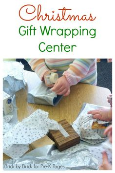 Gift Wrapping Center Christmas Gift Wrapping Center for Preschool. Your kids will love wrapping pretend presents for friends and family!Christmas Gift Wrapping Center for Preschool. Your kids will love wrapping pretend presents for friends and family!