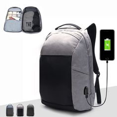 Sale 22% (39.99$) - Ekphero® Men Anti-theft Backpack Hiking Casual Multi-pocket Travel Bag with USB Charging Port