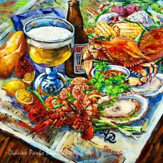 Louisiana Four Seasons, Print or Stretched Canvas, Crawfish, Oyster, Crab, Shrimp, New Orleans Art, New Orleans Artist, Dianne Parks