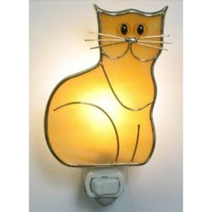 Stained Glass Kitten Cat Night Light