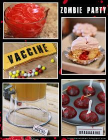 : { How To Throw A Zombie Party } Great blog - lots of ideas....Brain Juice, Brain Parts, Contaminated Cupcakes, etc