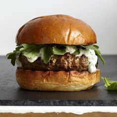 Lamb burger! It's dressed in a mint-garlic yogurt sauce, and is fresher and far more flavorful than most beef burgers around.