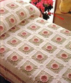 شغل ابره NEEDLE CRAFTS: باترون مفرش سرير كروشيه-bed cover crochet pattern